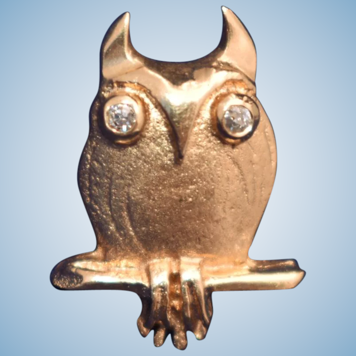 2e9a209c0137 Vintage Mid Century Modern Owl tie tack lapel pin 14kt gold diamond : The  Muse | Ruby Lane
