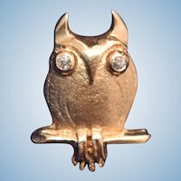 Vintage Mid Century Modern Owl tie tack lapel pin 14kt gold diamond bird
