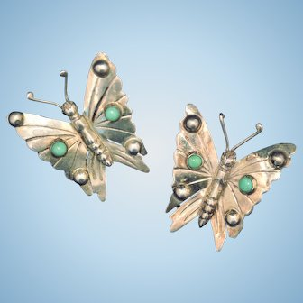 Vintage Sterling Silver Butterfly set of 2 scatter pins brooch from Mexico figurals