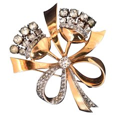 Estate Mazer retro modern bouquet with bow 1940s vintage brooch pin
