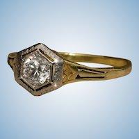 Victorian Antique 14k gold filigree old european diamond solitaire ring 5.5