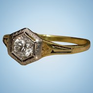 Victorian Antique 14k gold filigree old european diamond solitaire ring 5.5