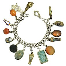 Rare art deco era complete Egyptian Revival charm bracelet sarcophagus Moses Imhotep