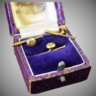 10k gold diamond antique Larter automatic formal shirt studs