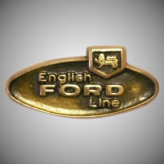 Vintage English Ford Line Automobile 10k gold pin tie tack
