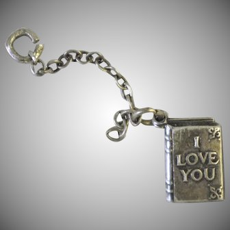 Sweet 1930s 40s vintage I Love You sterling silver book charm