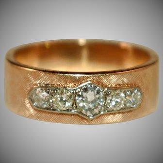 Vintage 1960s Retro Modern 14k .70 ct diamond band ring 10.5