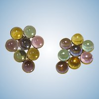 Colorful Pastel Glass Gumdrop set of vintage Dress Clips