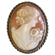 Antique Edwardian Gibson Girl carved Shell Sterling Silver Cameo brooch pin