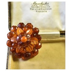 Antique Victorian Floral Dome faceted amber brooch pin