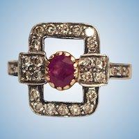 Antique Victorian Ruby Diamond 18k Bowtie cocktail ring Sz 6.5