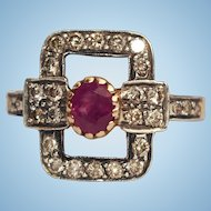 Antique Victorian Ruby Diamond 18k Bowtie cocktail ring Sz 6.5