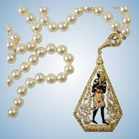 Egyptian Revival Camrose Kross Jackie Kennedy Onassis faux pearl Pharaoh pendant necklace
