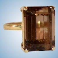 BOLD Smoky Quartz emerald cut cocktail ring 18k gold Size 8