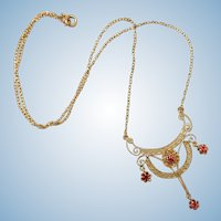 Edwardian Belle Epoque lacy lavalier drop necklace 10k yellow gold red paste stones