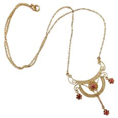 Edwardian Belle Epoque lacy lavalier drop necklace 10k yellow gold red paste stones