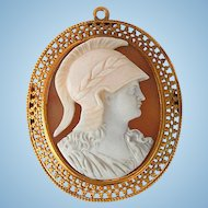 Classical Victorian cameo brooch pendant of Athena in 14kt gold