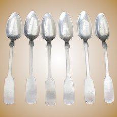 Early 19c Muttenfelder Coin Silver Tea Spoons - 6 pcs.