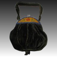 Antique Beaded Velvet Purse/Bag, 1800s to early 1900s VF!