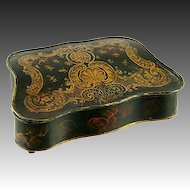 18th-19th C. French Toleware Writer's Box, Inkwell & Sander