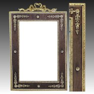 "Rare Antique French Empire Gilt Ormolu 12"" Tall Picture Frame, Wood Mat"