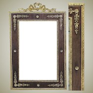 """Rare Antique French Empire Gilt Ormolu 12"""" Tall Picture Frame, Wood Mat"""
