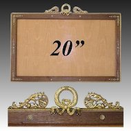 """HUGE Antique French Empire 20"""" Picture Frame, Gilt Ormolu with Wood Mat, Bow & Wreath"""