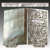 Exq. Antique French Engraved Mother of Pearl Necessaire, Carnet du Bal or Aide Memoire