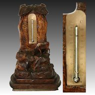 Antique Black Forest Carved Desk Thermometer Stand, Rare Pastoral Themed Cow Figures