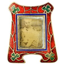 Antique Miniature Vienna Enamel Gem Frame, Red & Green