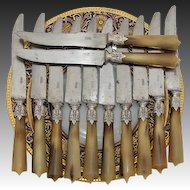 Antique 12pc Set French Silver & Horn Handled Dinner Knife Set, Acanthus Accent