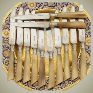 "Antique 12pc Set French Silver & Horn Handle Luncheon Sized 7 7/8""  Knife Set"