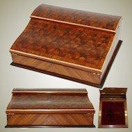 "Antique Napoleon III Marquetry Inlay 13"" Ecritoire, Lap Desk or Writer's Box, ""Tumbling Blocks"""
