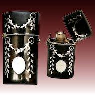 Antique French Sterling & Faux Tortoise Shell Etui, Perfume Flask - Tortoiseshell