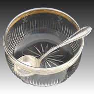 """Antique French Sterling Silver, Cut & Engraved Crystal 5"""" Condiment Bowl"""