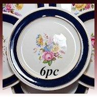 """Fine Antique SPODE Copeland Dinner Plates, 6 in Set - 10.5"""" Cobalt, Gold, Hand Painted Floral Enamels"""