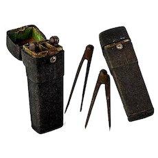 "Antique Georgian Shagreen 7"" Etui, Drafting Tools - Calipers or measuring tools inside, 1700s"