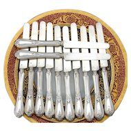 "Antique French Sterling Silver 12pc 8"" Knife Set, Acanthus Pattern"