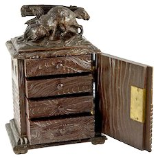 Superb Antique 19th C. Victorian Carved Black Forest Jewelry Chest, Cabinet - Fox in Trap