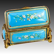 "Large Antique French Kiln-fired Enamel 5"" Jewelry Casket, Box, Etui - unsigned Tahan"