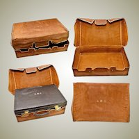 Antique Travel Valise, Suitcase, with Fitted Jars, Brushes, Mirrors of English Sterling and Faux Tortoise Shell