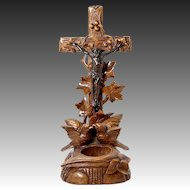 Antique Hand Carved Black Forest Benitier or Holy Water Font Crucifix, Birds & Nest