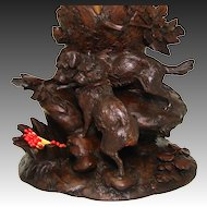 Superb Antique Black Forest Carved Cache Pot, Tobacco & Match Stand: RARE Dog Figures