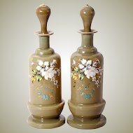 "Antique Pair (2) French Opaline Decanters, 9.5"" Tall, Enameled in Floral against Tan Glass"