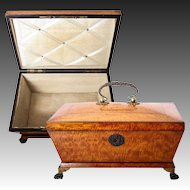 Large Antique 1700s French Jewelry Chest, Sewing Box, Coffret in Lemon Wood, Empire or Earlier