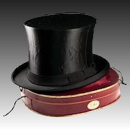 Antique Victorian - Edwardian Era Silk Top Hat, French Made, Collapsible with Original Travel Box, Silver Monogram