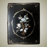 Antique Victorian Papier Mache Desk Top Blotter, Folio w/ Inlaid Mother of Pearl