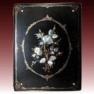 Antique Victorian Papier Mache Desk Top Blotter, Folio w/ Inlaid Mother of Pearl