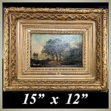 Antique French Oil Painting Landscape on Board, Fontainebleau School, Lush Heavy Original Frame