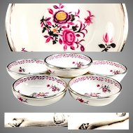 Antique Puiforcat French Sterling Silver Rim, Set of 6 Fruit or Dessert Bowls in Faience